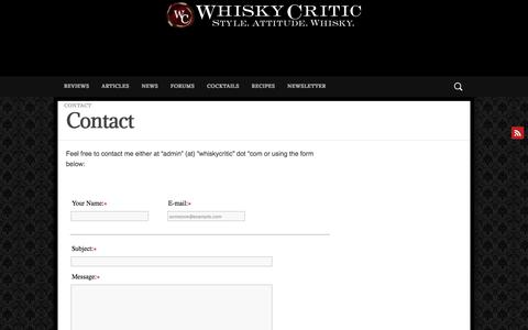 Screenshot of Contact Page whiskycritic.com - Contact – Whisky Critic - Whisky Reviews & Articles - Style. Attitude. Whisky. - captured June 27, 2018