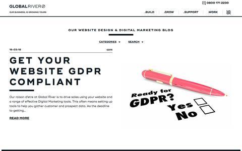 Screenshot of Blog global-river.co.uk - Our Website Design & Digital Marketing Blog · Global River, Northwich, Cheshire - captured July 20, 2018