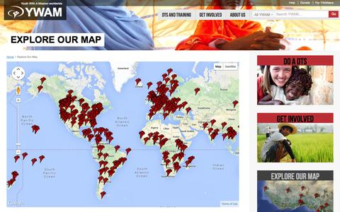 Screenshot of Maps & Directions Page ywam.org - Youth With A Mission   –  Explore Our Map - captured Oct. 27, 2014