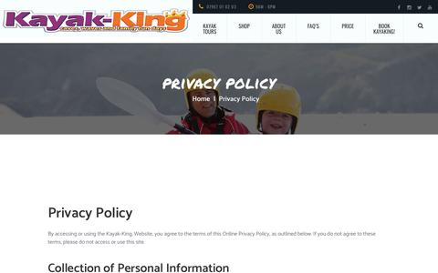 Screenshot of Privacy Page kayak-king.com - Privacy policy for customers of Kayak-King Tours in Wales. - captured Sept. 20, 2018