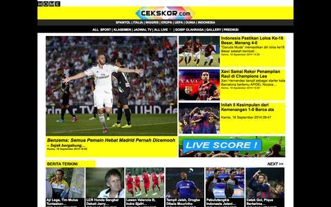 Screenshot of Home Page cekskor.com - Cekskor, Jadwal, Hasil dan Berita Olahraga Secara Live - captured Sept. 19, 2014
