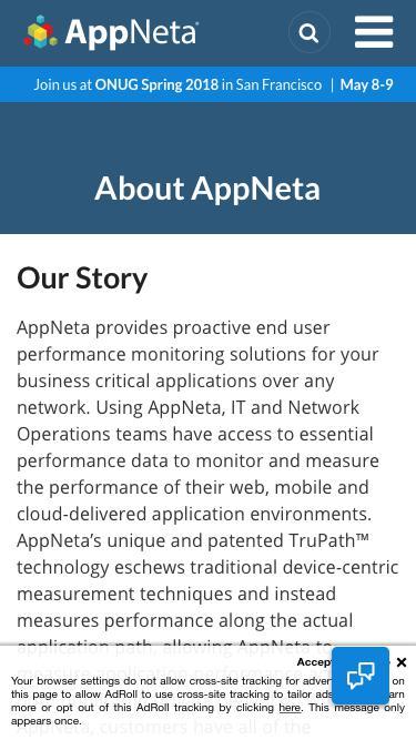 Screenshot of About Page  appneta.com - AppNeta Company Information - About Us, Leadership Team