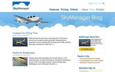 Screenshot of Blog skymanager.com - SkyManager Blog - captured Oct. 26, 2014