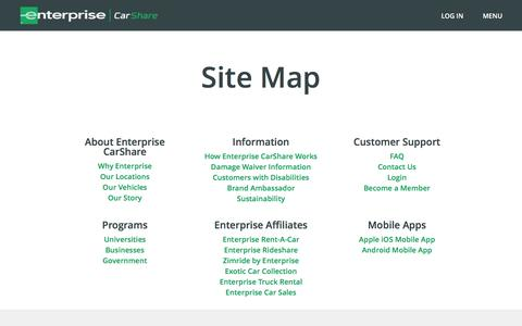 Screenshot of Site Map Page enterprisecarshare.com - Enterprise CarShare - Site Map - captured July 11, 2016