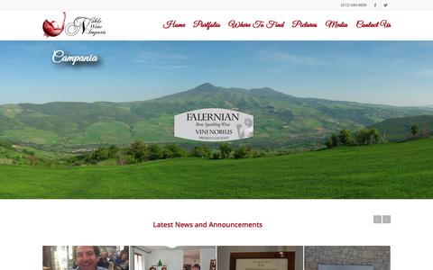 Screenshot of Home Page noblewineimports.com - Noble Wine Imports – Home - captured Aug. 13, 2016