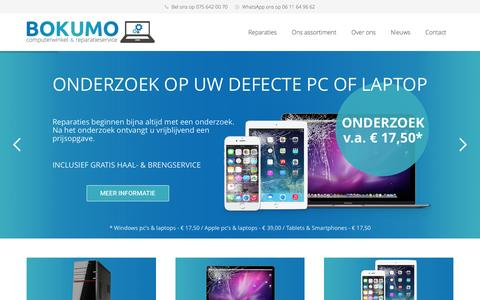 Screenshot of Home Page bokumo.nl - Bokumo - Beste computerwinkel van Noord-Holland van 2015 & 2016 - captured July 4, 2016