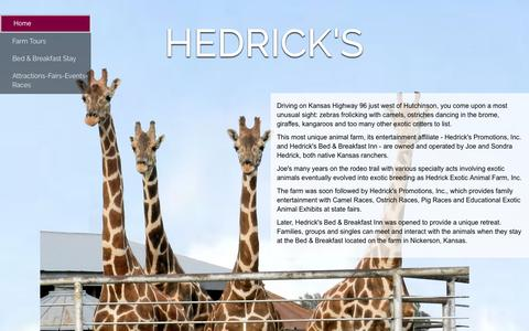 Screenshot of Home Page hedricks.com - Exotic Animal Farm | Bed & Breakfast | Promotions | Hedrick's - captured June 24, 2016
