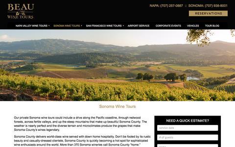 Sonoma Wine Tours, Wine Tasting Sonoma - Beau Wine Tours