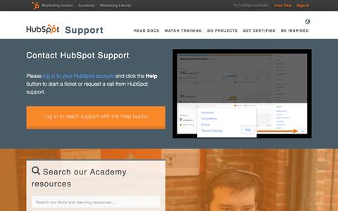 Screenshot of Support Page hubspot.com - Help & Support | HubSpot - captured May 31, 2016