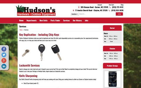Screenshot of Services Page hudsonshardware.com - Services Hudson's Hardware & Outdoor Equipment - captured Dec. 6, 2017