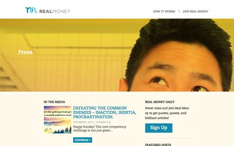 Screenshot of Press Page realmoneylife.com - Real Money Press | Join the Real Money online community - captured Nov. 3, 2014
