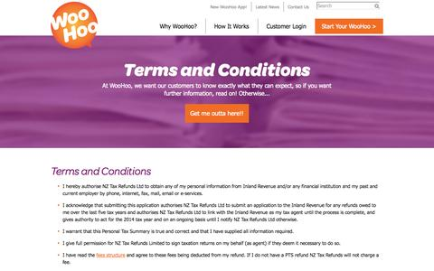 Screenshot of Terms Page nztaxrefunds.co.nz - Terms and Conditions | NZ Tax Refunds - captured Nov. 3, 2014
