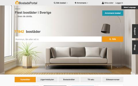 Screenshot of Home Page bostadsportal.se - Bostäder i hela Sverige - captured Nov. 16, 2015