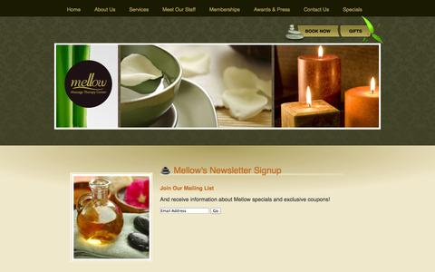 Screenshot of Signup Page mellowmassage.com - Mellow's Newsletter Signup | Information | Mellow - captured Oct. 27, 2014