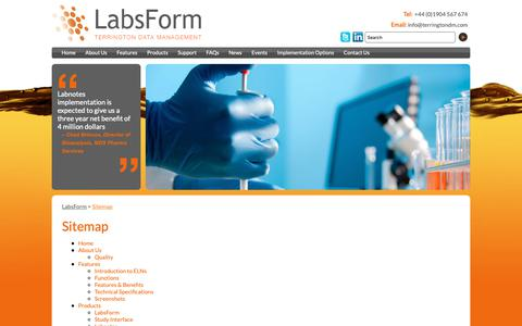 Screenshot of Site Map Page labsform.com - LabsForm :: Sitemap - captured Oct. 19, 2018