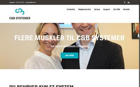 Screenshot of Home Page cb.dk - IT-løsninger til ejendomsmæglere. Sagsstyring, CRM og hjemmesider. - captured Sept. 25, 2018