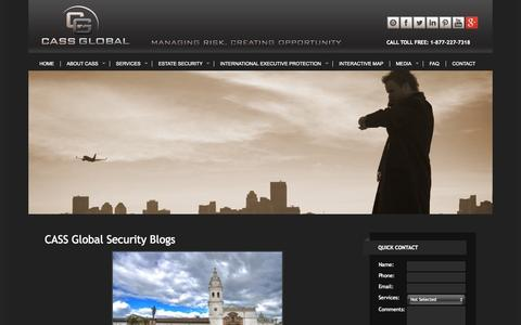 Screenshot of Blog cassglobalsecurity.com - CASS Global Security | Executive Protection Agency | Blogs - captured Sept. 26, 2014