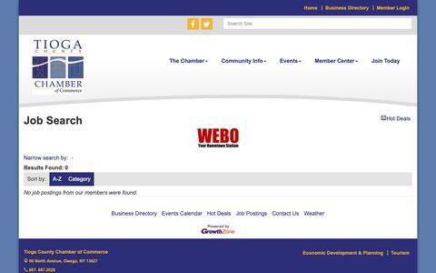 Screenshot of Jobs Page tiogachamber.com - Job Search - Tioga County Chamber of Commerce, NY - captured Dec. 4, 2018