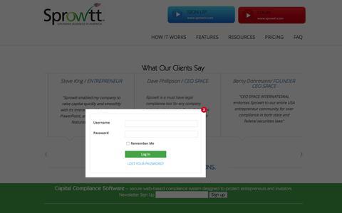 Screenshot of Login Page sprowtt.com - login | Sprowtt - captured Jan. 12, 2016