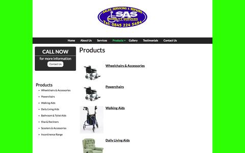 Screenshot of Products Page sasmobility.co.uk - Products offered by SAS Mobility | Wheelchairs & Living Aids - captured April 3, 2016
