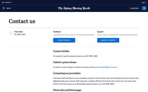Screenshot of FAQ Page smh.com.au - Contact us | The Sydney Morning Herald - captured Sept. 20, 2018