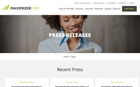 Screenshot of Press Page maximizer.com - Press - Maximizer - captured Oct. 2, 2015