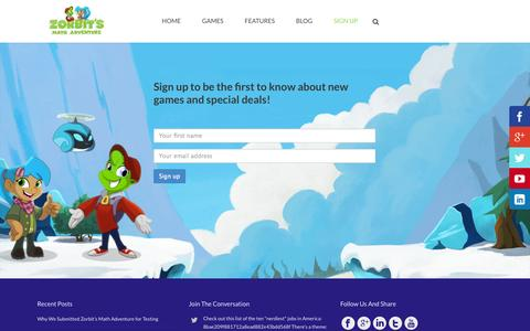 Screenshot of Signup Page zorbitsmath.com - Join Us - Zorbit's Math Adventure Game - captured Nov. 3, 2014