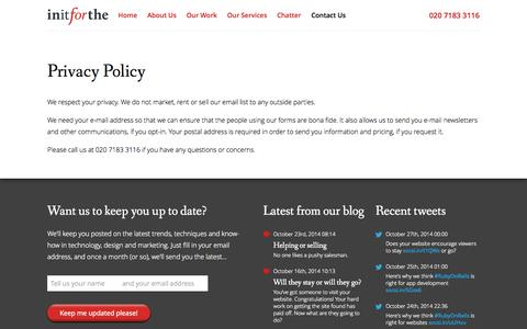Screenshot of Privacy Page initforthe.com - Contact Us - Privacy Policy - Initforthe - captured Oct. 27, 2014