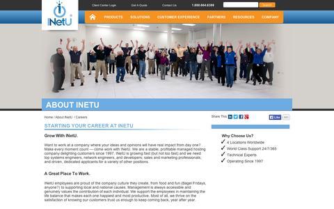 Screenshot of Jobs Page inetu.net - Starting Your Career At INetU | INetU - captured Sept. 11, 2014