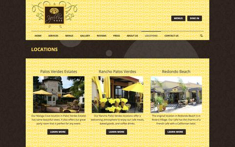 Screenshot of Locations Page yellowvase.com - Bakery, Flowers, & Cafe | Yellow Vase | Locations - captured Oct. 19, 2018