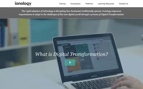 Screenshot of Home Page ionology.com - Digital Transformation Experts - Ionology - captured Feb. 11, 2016