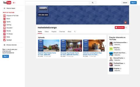 Screenshot of YouTube Page youtube.com - realestatedurango  - YouTube - captured Oct. 23, 2014