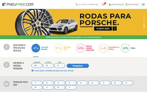 Screenshot of Home Page pneufree.com.br - PNEUFREE.COM - O maior site de vendas de pneus do Brasil - captured Nov. 11, 2018