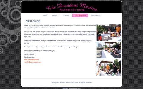 Screenshot of Testimonials Page decadentmartini.com - Testimonials | Decadent martini - captured Oct. 7, 2014