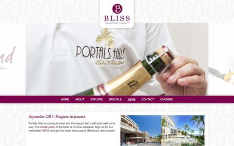 Screenshot of Press Page bliss-hospitality.com - Bliss Hospitality Group - Official Site - captured Oct. 5, 2014