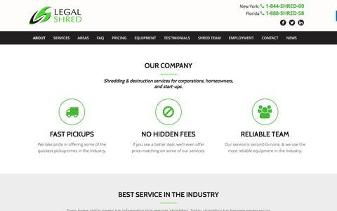 Screenshot of About Page legalshred.com - About - Legal Shred - captured Nov. 6, 2016