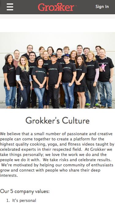 Screenshot of Team Page  grokker.com - Yoga, Fitness, and Cooking video classes to be a better you | Grokker.com