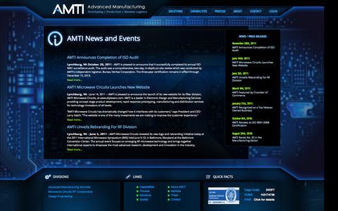 Screenshot of Press Page advmanufacturing.com - AMTI - AMTI News and Events - captured Oct. 4, 2014