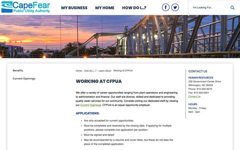 Screenshot of Jobs Page cfpua.org - Working At CFPUA | Cape Fear Public Utility Authority Official Site - captured Sept. 26, 2018