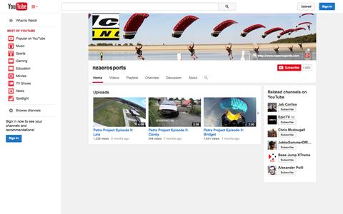 Screenshot of YouTube Page youtube.com - nzaerosports  - YouTube - captured Oct. 26, 2014