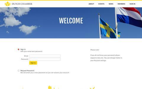 Screenshot of Login Page dutchchamber.se - Sign In - Dutch Chamber of Commerce in Sweden - captured Nov. 24, 2016
