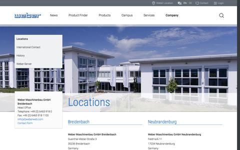 Screenshot of Locations Page weberweb.com - Locations | Weber Maschinenbau GmbH - captured Dec. 3, 2016