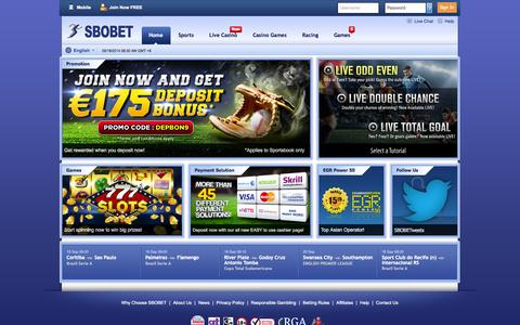 Screenshot of Home Page sbobet.com - Asian Handicap Betting- Sports Betting by SBOBET - captured Sept. 18, 2014