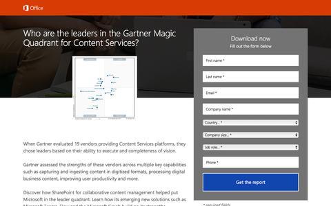 Screenshot of Landing Page office.com - Gartner Magic Quadrant - captured Oct. 27, 2017