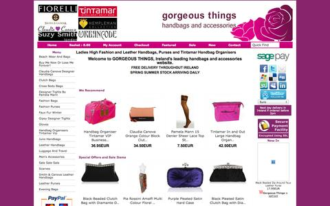 Screenshot of Home Page gorgeousthings.ie - Ladies Leather Handbags Shoulder Evening Clutch - captured Sept. 30, 2014