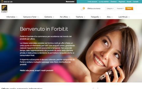 Screenshot of Home Page forbit.it - Forbit.it: oltre 30.000 prodotti disponibili in 48 ore! - captured June 18, 2015