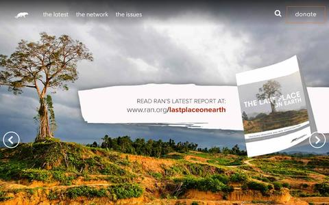 Screenshot of Home Page ran.org - Rainforest Action Network - captured Feb. 3, 2016