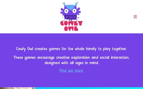 Screenshot of Home Page cowlyowl.com - Cowly Owl – Games for family time - captured Nov. 5, 2018