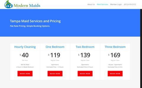 Screenshot of Services Page Pricing Page modernmaidsusa.com - Tampa Maid Service Pricing | Modern Maids USA - captured Jan. 10, 2016