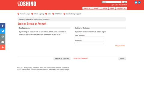 Screenshot of Login Page oshinolamps.com - Customer Login   Oshino Lamps America - captured Oct. 19, 2018